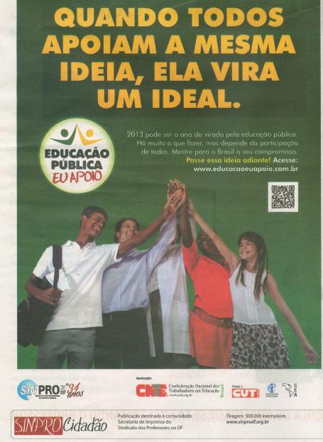 Sinpro/DF apoia a educação pública